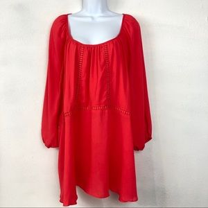 Lane Bryant Coral Tunic 3/4 Sleeve Top